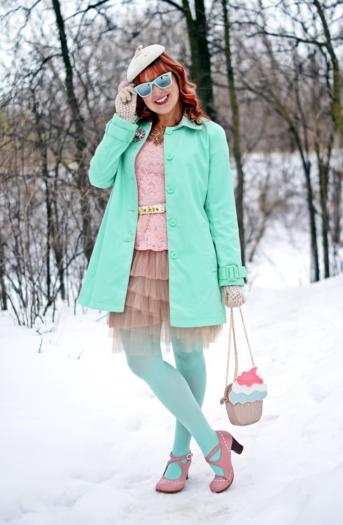 Winnipeg Fashion Blog, Canadian Fashion Blog, Winnipeg Stylist, Jessica pastel mint spring jacket coat, Jessica pastel pink lace peplum top, BCBG Max Azria nude tulle tiered layered skirt, Hue mint tights, BCBG Max Azria white toggle belt, Aldo accessories cupcake clutch handbag, vintage velvet cream hat, vintage cream crochet gloves, Icing pink tulle flower ring, Forever 21 pastel crystal brooch pin, BCBG Max Azria purple stone gold statement flower necklace, Forever 21 mint mirror sunglasses, Fluevog pastel pink Operetta Malibran leather retro heels