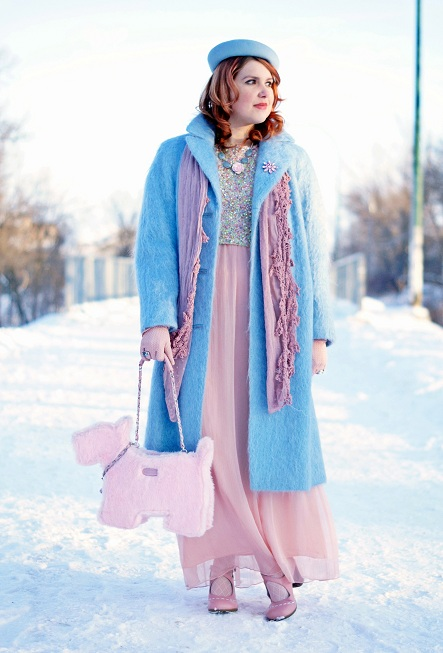 Winnipeg Fashion Blog, Canadian Fashion Blog, Winnipeg Stylist, Vintage Louis Manley baby pastel blue mohair oversized coat, Icing dusty rose pink scar, Vintage pastel blue wool beret hat, Topshop premium sequin crop top, Forever 21 baby pastel pink chiffon skirt, My Flat in London faux fur pastel pink scottie dog bag purse, The Shopping Channel Aquamarine pink carved rose shell necklace bracelet, Vintage pink crystal brooch pin, Swarovski blue cystal silver ring, Vintage pink gloves, Fluevog baby pastel pink white Operetta Malibran maryjane heels shoes