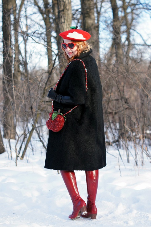 Winnipeg Fashion Blog, Canadian Fashion Blog, Winnipeg Stylist, Vintage Reine de Laine black wool hair sleeve overized open coat jacket, Joe Fresh houndstooth print pocket dress, Etsy handmade bitten red apple wool beret hat, Winners red coral necklace, Mary Frances First Bite red apple bitten crystal embellished clutch shoulder handbag purse bag, Anne Klein tights, red apple vintage pin, Danier leather black leather opera length long gloves, Fluevog Operetta Zinka red patent leather knee high boots, Expression red enamel stretch bracelet, Claire's red apple ring