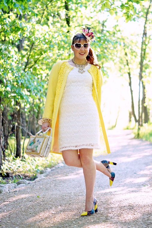Winnipeg Fashion Blog, Canadian Fashion Blog, Forever 21 white crochet lace dress, Rachel Roy yellow floral lace sheer dress coat, Vintage white wicker mushroom handbag purse, Betsey Johnson bow crystal choker gold dangle necklace, Avon white cuff watch, Sears gold disc saucer cuff bracelet, Deanne Watson blue crystal earrings, Handmade self made DIY butterfly fascinator hat headband, Icing white heart sunglasses, Aldo Rise Preen collaboration Pravda smakeskin patchwork leather pump