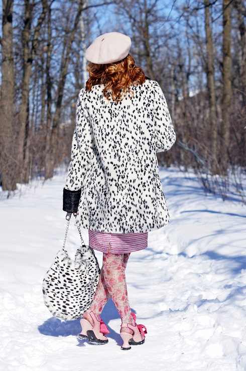 Winnipeg Fashion Blog, Canadian Fashion Blog, Winnipeg Stylist, Topshop Dalmation black white collar cuff faux fur swing coat, RW & co. pink sheer tie blouse, Vedette Shapewear bodysuit, Mario Serrani Italy pink white tweed pencil skirt, BCBG Max Azria white snake gold stretch belt, Forever 21 white pink stone necklace, Vintage pink gloves, Icing faux fur Dalmation spots handbag purse, Wayne Clark black enamel crystal ring brooch pin, Icing pink floral flower printed tights, Icing pink floral flower sunglasses, Ardene soft baby pink wool beret hat, Fluevog pink bow Mini Sweet Pea