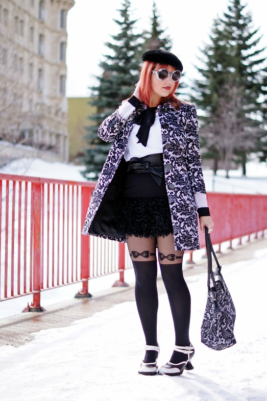 Winnipeg Fashion Blog, Canadian Fashion Blog, Jessica black white lace printed topper jacket coat, Attitude Jay Manuel white sheer top black neck tie blouse, Jessica Simpson ruffle black mini skirt, Greta Constantine Skin Danier leather Obi tie belt, Forever 21 black bow printed garter tights, Vintage black velvet beret hat, Jessica black white lace printed handbag, Natasha spider crystal pin brooch, Swarovski clear crystal oversized ring, Icing black white printed round sunglasses, Fluevog Mini Qtee black white peach leather heels