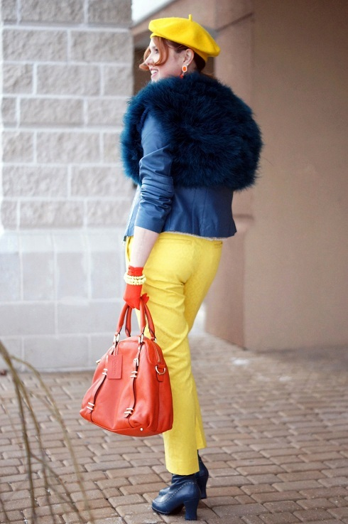 Winnipeg Fashion Blog, Canadian Fashion Blog, Winnipeg Stylist, Jessica blue teal feather shrug cardigan shawl jacket, Danier leather blue teal blazer jacket, Vintage beaded embellished flower vest top, Banana Republic yellow butternut hampton fit textured cropped pants, Vintage orange gloves, Danier leather orange dome handbag, Winners neon orange earrings, Ebay yellow wool beret hat, Icing daisy ring, Forever 21 stretch yellow bracelet, Fluevog sample Hi Choice Hope teal blue heart heels leather calf boots