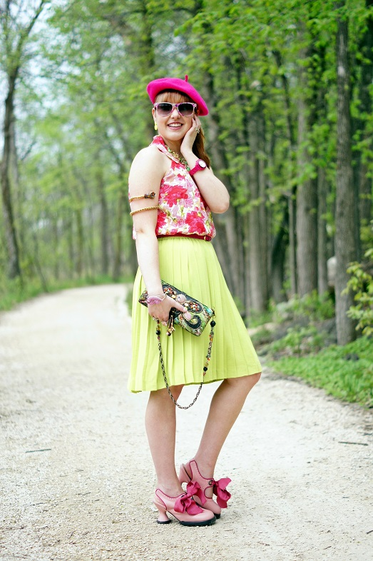 Winnipeg Fashion Blog, Canadian Fashion Blog, INC International Concepts silk pink green floral halter top blouse, Banana Republic green pleated skirt, Forever 21 hot pink fuchsia patent belt, Mary Frances Force of Nature silk watercolored stone beaded clutch bag, Betsey Johnson Lip Kiss crystal bangle bracelet, Coach hot pink fuchsia watch, Victoria Secret pink crystal cocktail ring, Natasha snake coil arm band, Natasha green crystal stone statement necklace, Adia Kibur neon yellow earrings, Icing pink floral print sunglasses, Fluevog pink bows Mini sweet pea slingback heels