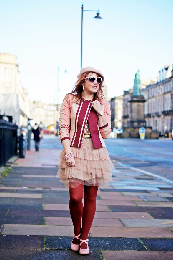 Winnipeg Fashion Blog, Canadian Fashion Blog, Fall 2013, Edinburgh, Scotland, BCBG Max Azria Erin color blocked moto jacket bare pink burgundy, INC gold sequin t-shirt tee top, BCBG Max Azria tulle layered skirt nude pink, Jessica rusty red burgundy opaque tights, Danier leather gold metallic belt, Ardene pink wool beret hat, Fluevog Operetta Malibran special edition pink white leather maryjane shoes