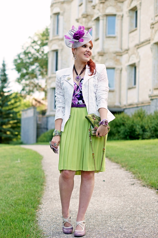 Winnipeg Canadian Fashion Consultant Stylist Blog, Vedette Shapewear Stella purple floral shaping swimwear, BCBG Max Azria white lace Boe moto jacket blazer, Banana Republic lime green pleated skirt, Jacques Vert purple grey feather fascinator, Mary Frances Lily Pad Frog beaded clutch bag, Amethyst silver earrings, Purple turquoise necklace, John Fluevog purple Pearl Hart Bellevue pumps shoes