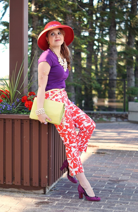 Canadian, Winnipeg, Manitoba, Stylist, Fashion Consultant, Reitmans coral flower printed uptown capri, Danier Leather Object designer collaboration citron belt & clutch purse, Winners coral straw summer sun hat, Coach purple logo silk ponytail scarf, Aldo accessories pearl bold statement necklace, Icing gold spiral arm cuff band, John Fluevog Cana Miracle purple suede red bottom pump