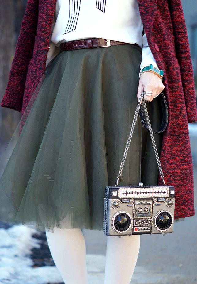 Winnipeg Style, Chicwish burgundy wine tweed winter coat, Chicwish embroidered bow blouse, Chicwish green tulle skirt, Chie Mihara tile suede patent leather Norman shoes, Mary Frances Tuned In boom box ghetto blaster clutch bag