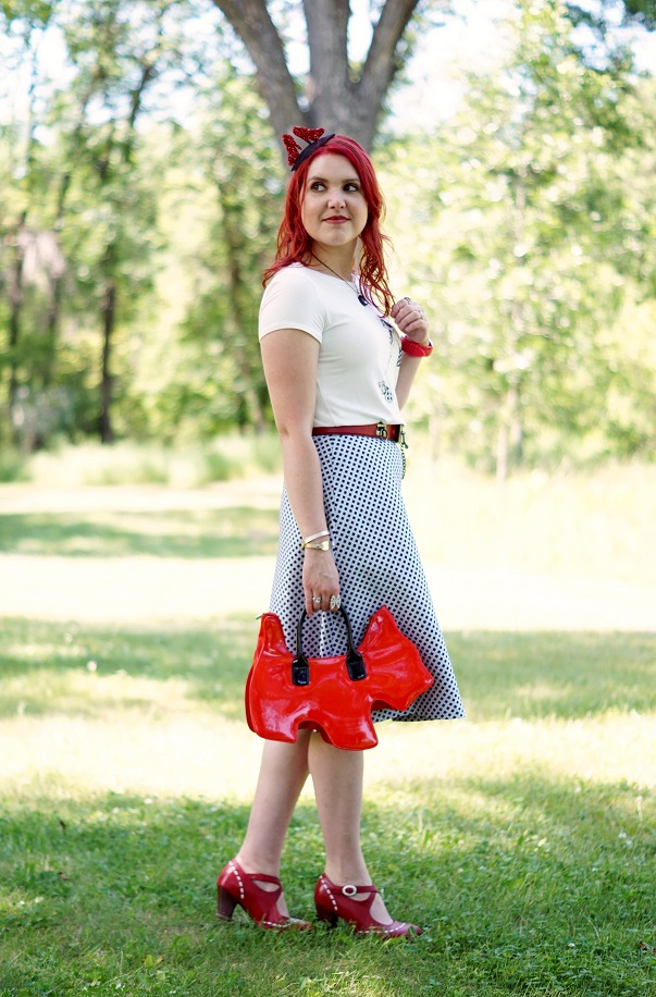 Winnipeg Style, RW & co. girl walking dog tshirt, RW & co. Jacquard flared skirt, Amliya Scottie dog bag, Origami Owl monogrammed engraved bracelet, Self made DIY ruby sparkle slippers shoes fascinator hat, BCBG Max Azria red toggle belt, John Fluevog red LE Operetta Malibran maryjane shoes