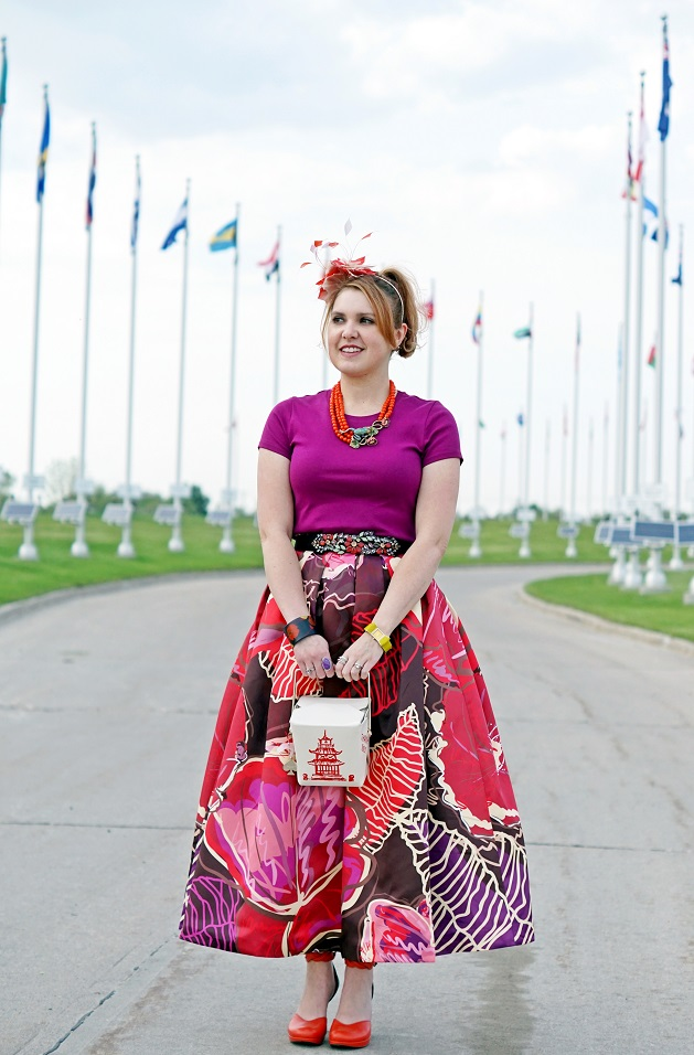 Winnipeg Style Fashion Consultant Stylist Blog, Chicwish exotic blooms floral maxi skirt, Kate Spade hello shanghai cruz take out chinese box clutch handbag, BCBG Max Azria crystal belt, Heidi Daus Leap Frog necklace, Jacques Vert feather red white fascinator, dconstruct eco-friendly recycled bangle, Isaac Mizrahi citron bow watch, John Fluevog limited edition Queen Transcendent Nefertiti tomato red black pink leather unique art heels