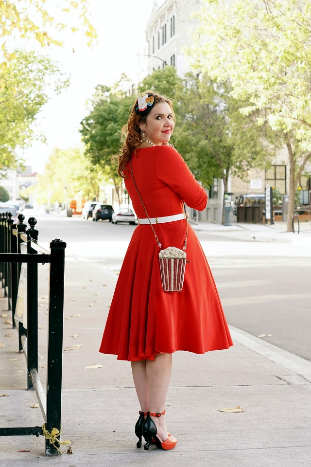 Winnipeg Style, Mary Frances Butter Me Up handmade beaded crystal leather clutch bag, The Shopping Channel Isaac Mizrahi Love full red vintage style 50s circle dress, DIY popcorn retro fascinator, Claire's Katy Perry popcorn ring, John Fluevog LE Nefertiti Queen Transcendent