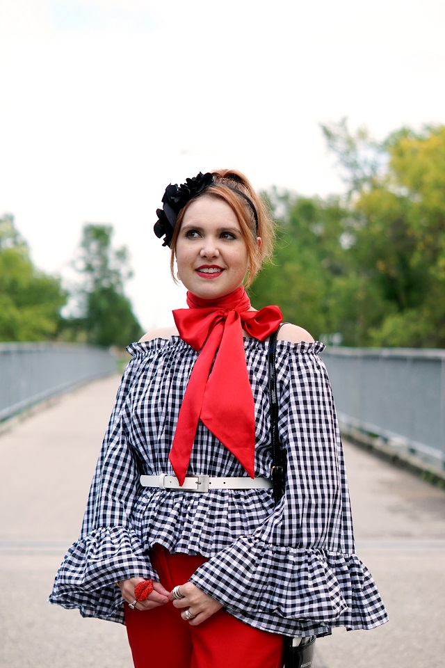 Winnipeg Style Fashion Consultant Stylist, Chicwish retro vintage check off shoulder top, Le chateau red bow neck scarf, Kate Spade Light the sparklers cinema city movie bag, Cleo red ankle pants, John Fluevog yellow Big Presence Desmond shoes
