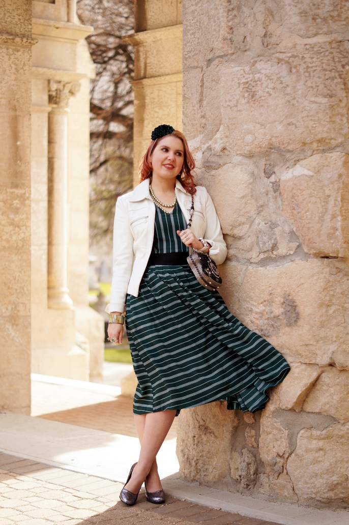 Winnipeg Style, fashion consultant, stylist, blog, spring 2016, Chicwish green stripes midi dress, Danier Leather white jacket, Mary Frances Call Me beaded crystal clutch handbag, Heidi Daus turtle necklace, John Fluevog grey sparkle Miracles Medugorje shoes