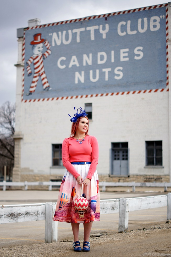 Winnipeg Style Canadian fashion blog, Chicwish Hot air balloon up in the air midi printed skirt, Kate Spade New York hot air balloon clutch bag flights of fancy, Vuela Vuela Esty vintage retro hot air balloon jewelry, Precis Petite bow fascinator, John Fluevog LE cobalt blue fiorenza operetta, Nutty club candies, exchange
