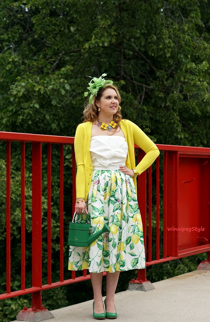 Winnipeg Style, Personal stylist, Chicwish lemon print skirt, Chicwish white bow sweet knot bustier top, Chie Mihara Oki green leather shoes, Precis Petite lime green feather fascinator, Kate Spade spring forward watering can bag purse