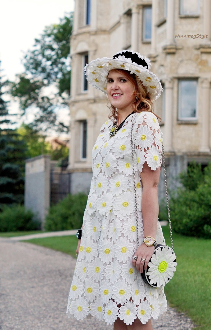 WinnipegStyle, Canadian, Chicwish Daisy kind of love top and skirt crochet lace, Daisy vintage hat, Aldo Accessories daisy handbag, Heidi Daus sunflower daisy necklace,, Betsey Johnson Ice cream watch, John Fluevog yellow Big Presence Desmond heels shoes
