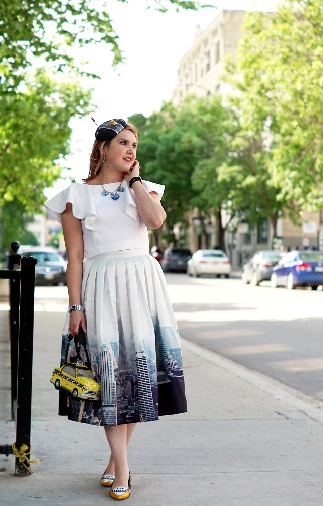 Winnipeg Style, Chicwish New York skyline printed midi skirt, Mary Frances yellow taxi beaded handbag bag, Chicwish white ruffle crop top, Kate Spade New York Go taxi flats shoes, DIY self made taxi road street light fascinator hat, Betsey Johnson heart necklace, Kate Spade fast lane car racing bangle bracelet