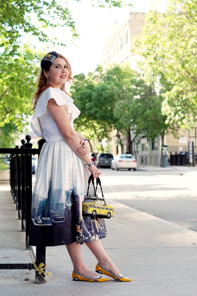 Winnipeg Style, Chicwish New York skyline printed midi skirt, Mary Frances yellow taxi beaded handbag bag, Chicwish white ruffle crop top, Kate Spade New York Go taxi flats shoes, DIY self made taxi road street light fascinator hat, Betsey Johnson heart necklace, Kate Spade fast lane car racing bangle bracele