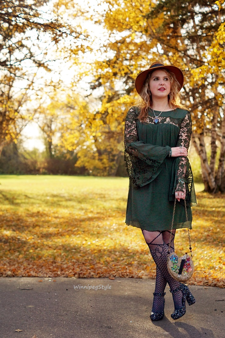 Winnipeg Style Fashion Stylist, Fashion Consultant, Chie Mihara Liuma suede metallic paint splatter shoe, Made in Spain, Mary Frances painters palette handbag, Marshalls Rebellion green crochet lace bell sleeve dress, Winner fishnet bow design tights