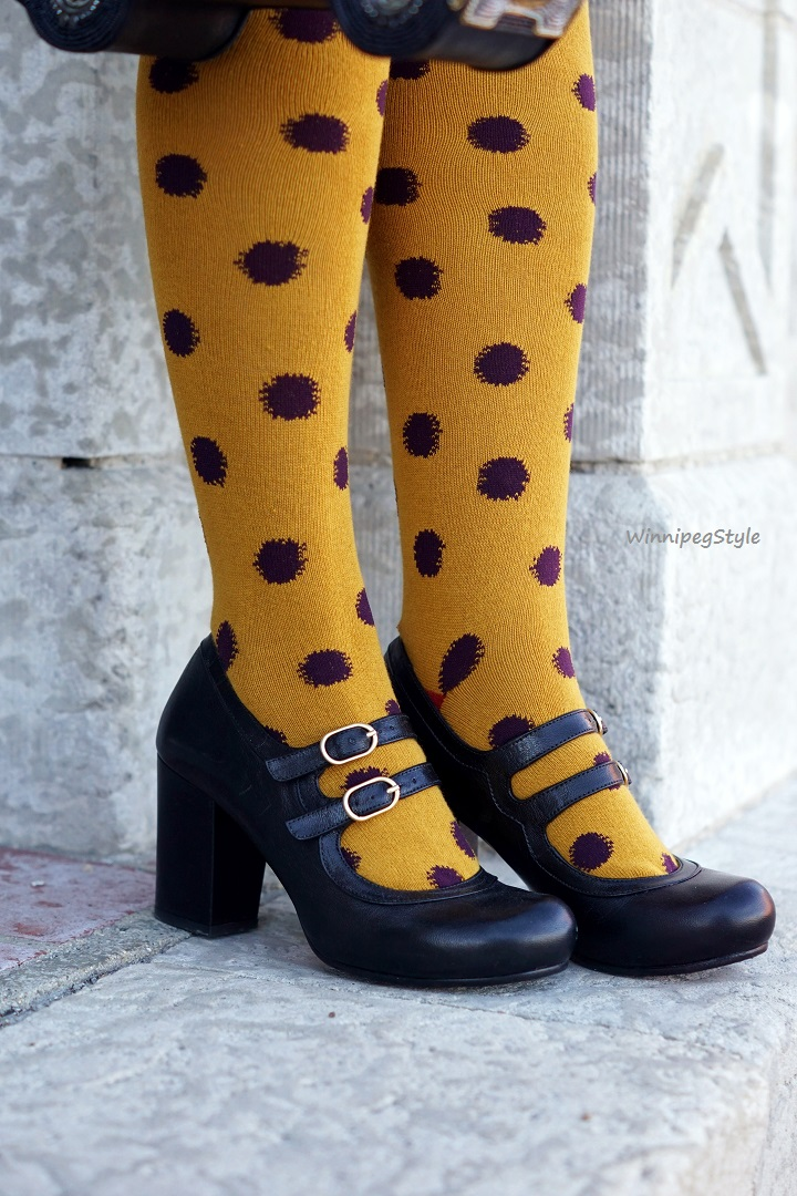 Winnipeg Style Fashion Stylist, Fashion Consultant, Chicwish polka dot knit skater skirt, Tabbisocks yellow purple polka dot over the knee socks, Mary Frances beaded car purse, Chie Mihara Tania black leather mary jane pump, Winners Nanette Lepore black wool vest