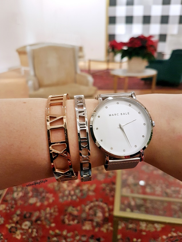 Winnipeg Style, Canadian Fashion stylist blog, The Peach Box roman numeral bangle, Marc Bale mesh strap watch