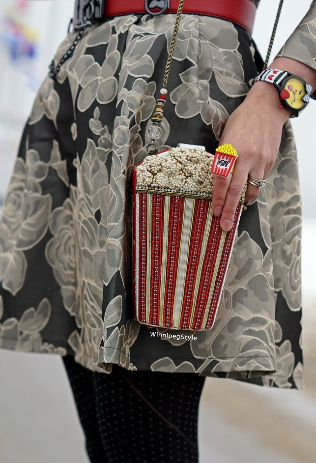 Winnipeg Style Canadian fashion stylist consultant, Sparkle Bomb swarovski crystal acrylic popcorn necklace and ring, Chicwish rose print jacquard dress, Mary Frances popcorn beaded clutch handbag purse, John Fluevog yellow Mirella Operetta boots