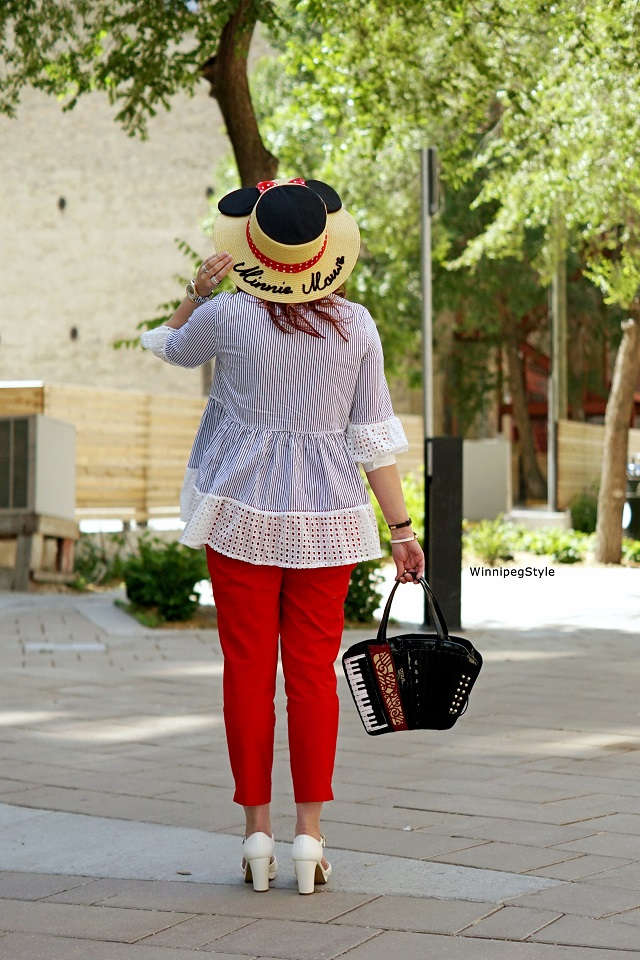 Winnipeg Style, Chicwish striped babydoll eyelet top blouse, Bag Me Baby retro novelty accordion handbag purse, Chie Mihara white Gada vintage style sandals heels, The Sparkle Bomb swarovski crystal popcorn jewelry, E hyphen world gallery Disney Minnie Mouse straw hat, women's fashion, style blog