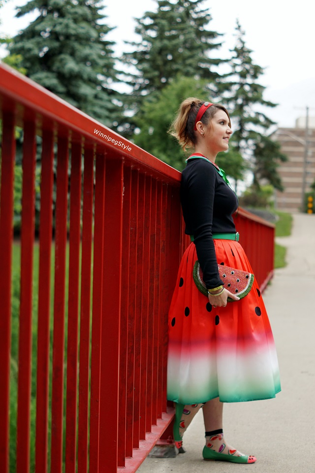 Winnipeg Style, Stylist, Fashion Image Consultant, Chicwish watermelon print retro midi skirt, Mary Frances watermelon beaded gem clutch, Kate Spade watermelon flats shoes, Tabbisocks watermelon clear socks, Fairytale collars watermelon vintage, women's fashion blog, quirky novelty fun unique accessories