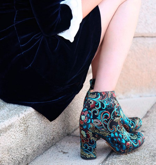 Chie Mihara Fusion Fall Winter collection 2017 2018 printed paisley floral print ankle boot