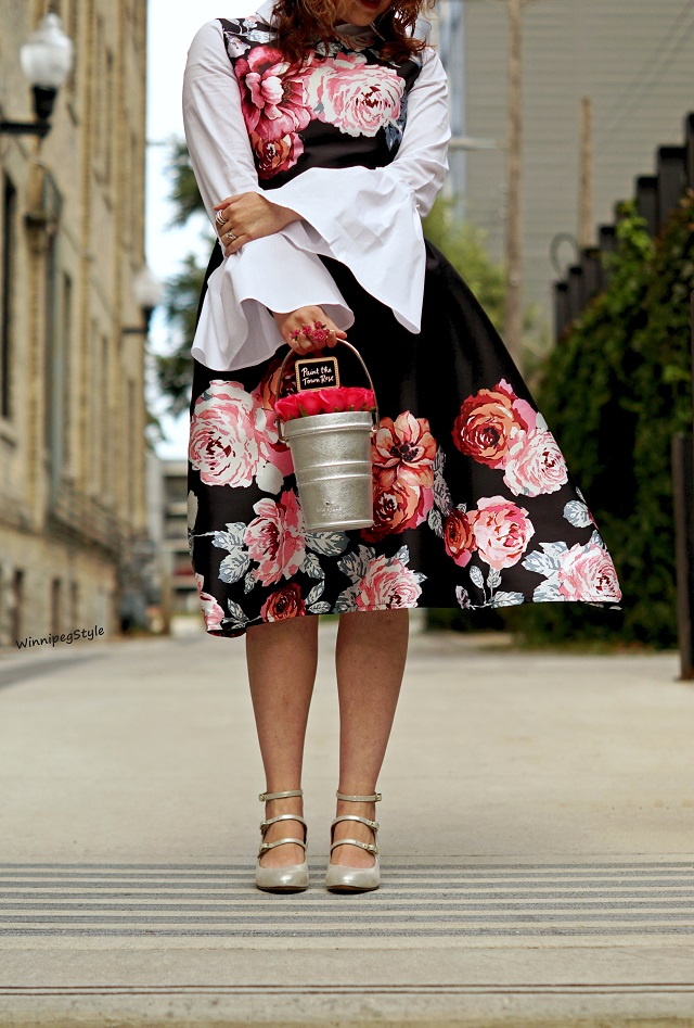 Winnipeg Style Canadian Fashion blog, Chie Mihara Fall Winter 2017 2018 collection Flawless silver buckle heels shoes, Chicwish fall floral flower print midi classic modest dress, Kate Spade rose bucket leather handbag purse, Como Black white cotton blouse bell sleeve layered, inspiration