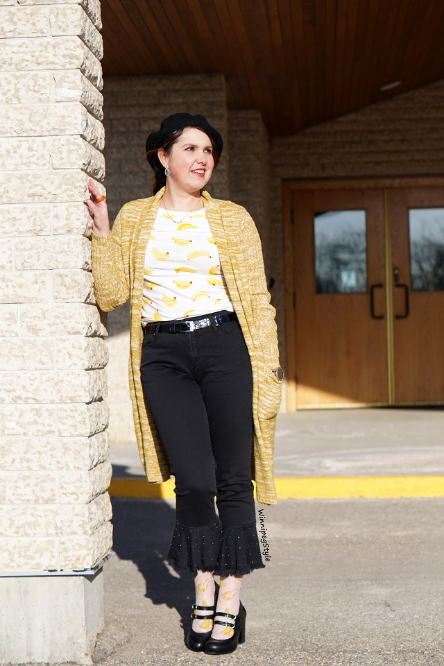 Winnipeg Style, Canadian Fashion blog, Stylist consultant, Tabbisocks Narasocks sheer banana socks, Chie Mihara Tania block heel black mary jane shoes, Forever 21 banana print tee t shirt, Anthropologie exclusive Pilcro brand black flare hem studded jeans, Anthropologie Abigail marled long cardigan yellow gold mustard