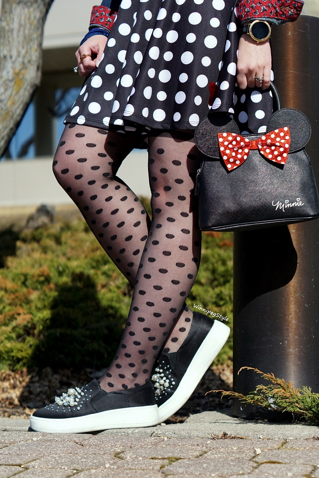 Winnipeg Style, Canadian Fashion blog, stylist consultant, Tabbisocks sheer polka dot black tights, Walt Disney World Minnie Mouse denim jean jacket, Polka dot short skater skirt Disney Store, Soda Shoes pearls black sneakers, Forever 21 pearl beret hat