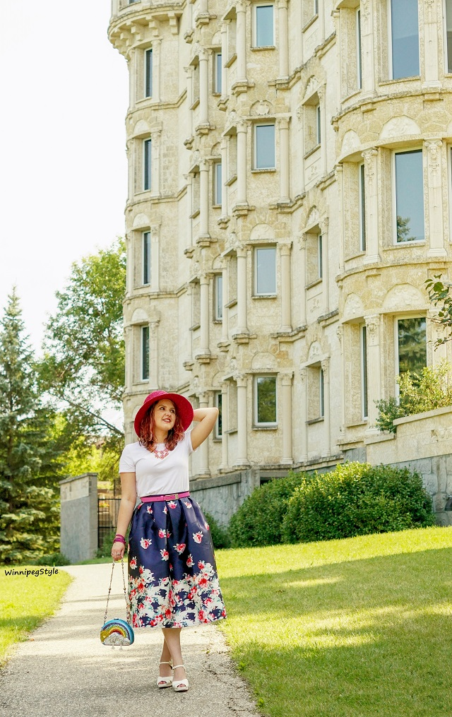 Winnipeg Style, Canadian Fashion blog, stylist, Chicwish navy rose print midi vintage style skirt, Chie Mihara cream white Gada sandals, Mary Frances one of a kind rainbow sun beaded clutch bag, Scala pink straw hat, summer style, modern vintage