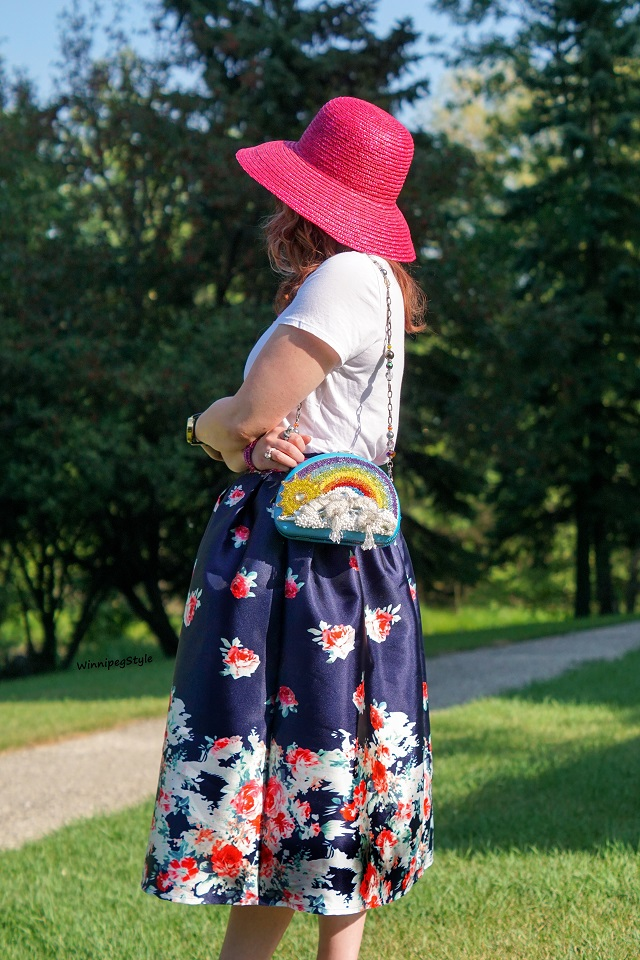 Winnipeg Style, Canadian Fashion blog, stylist, Chicwish navy rose print midi vintage style skirt, Mary Frances one of a kind rainbow sun beaded clutch bag, Scala pink straw hat, summer style, modern vintage
