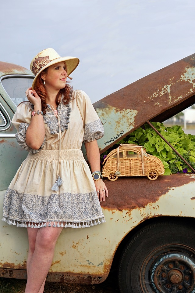 Winnipeg Style, fashion styist, Canadian blogger, Chicwish boho embroidered dress, Kate Spade New York wicker car purse bag, road trip Summer Fall 2018, Complit Italitan straw hat, Winkler Manitoba flower garden park, retro vintage cars trucks bikes, Parkside Pioneer Patch, Winkler, Manitoba