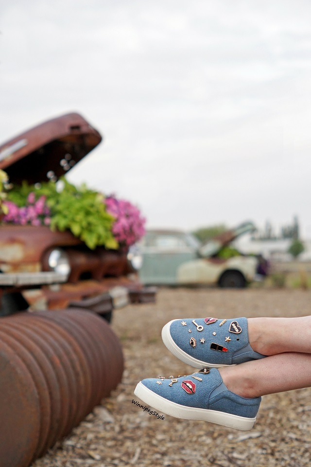 Winnipeg Style, fashion styist, Canadian blogger, road trip Summer Fall 2018, Aldo denim embellished sneakers, Winkler Manitoba flower garden park, retro vintage cars trucks bikes, country chic, Parkside Pioneer Patch, Winkler, Manitoba