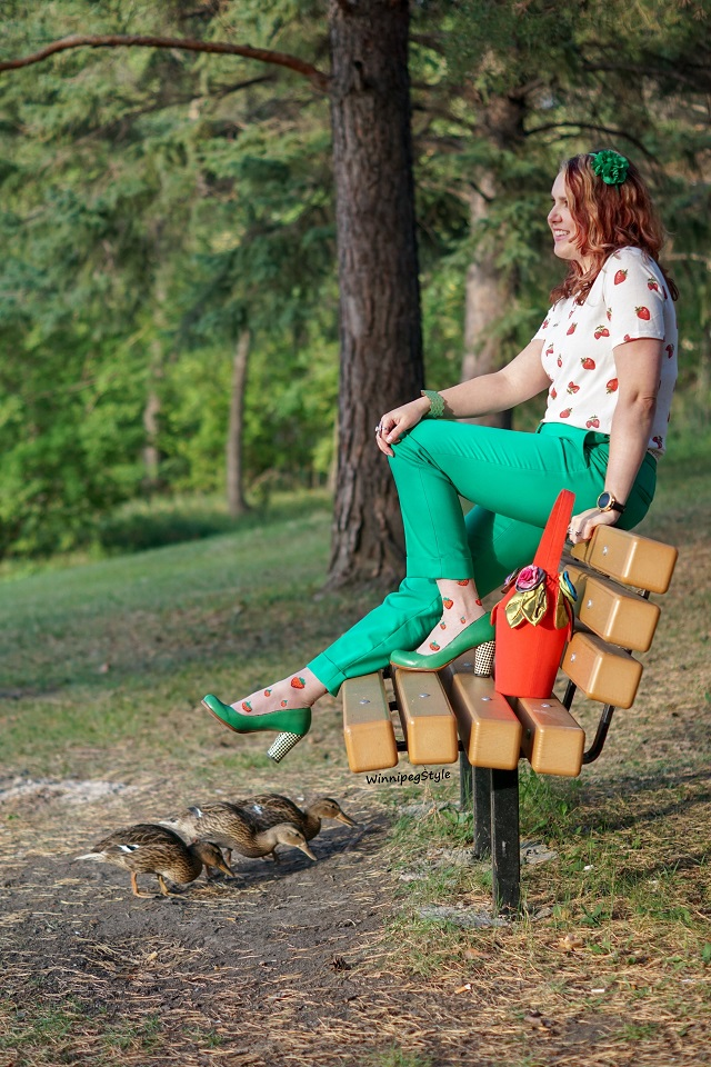 Winnipeg Style, Canadian Fashion blog, stylist, Tabbisocks Narasocks made in Japan, Sheer strawberry crew socks, Foever 21 strawberry print tshirt, Express bright kelly green ankle pants, Chie Mihara Oki green checkered heel pumps, duck friends in the park