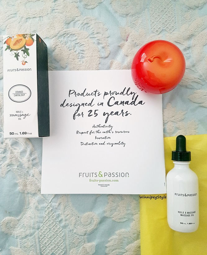 Winnipeg Style, Canadian Fashion Stylist consultant, Canadian blog, Fruits and Passion Canadian body and home care products, Orange cantaloup massage oil