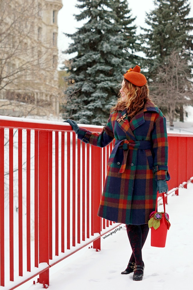 Winnipeg Style, Canadian Fashion stylist blog, Chicwish rainbow plaid wool trench coat, plaid multi color winter wool double breasted coat, Coque Millinery by Ericah wool orange ribbon pom pom Rebecca winter designer hat, Pierre Mantoux velvet black burgundy floral design tights nylons, Chie Mihara Tania black leather Mary Jane retro vintage style shoe, 2018