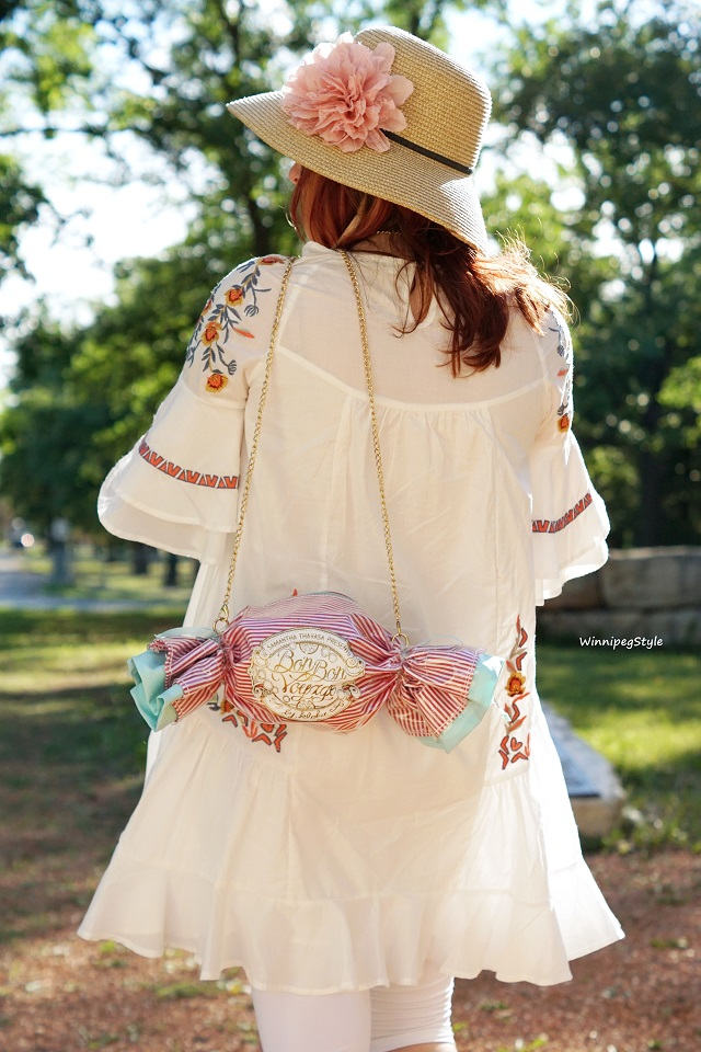 Winnipeg Style, Canadian Fashion blog, stylist, Bag Me Baby Bon Bon Voyage candy stripe purse bag, Chicwish boho floral embroidered white ruffle dress tunic, summer style, Miu & Go straw hat Winners Fab Find