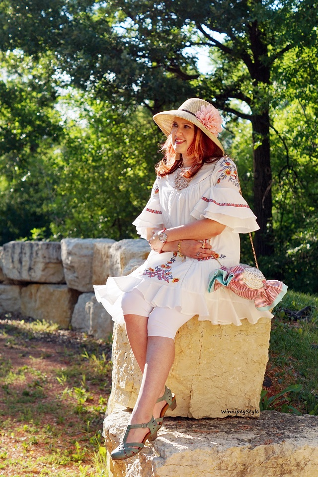 Winnipeg Style, Canadian Fashion blog, stylist, Bag Me Baby Bon Bon Voyage candy stripe purse bag, Chicwish boho floral embroidered white ruffle dress tunic, summer style, Miu & Go straw hat Winners Fab Find, Rockport Cobb Hill Aubrey teal leather sandals