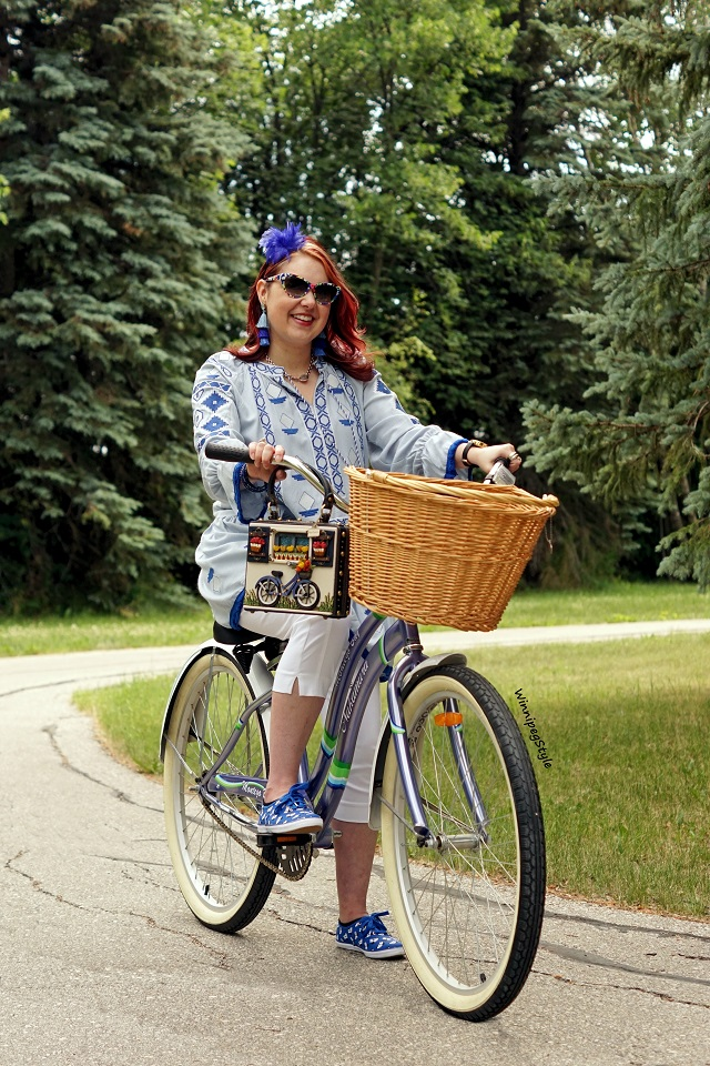 Winnipeg Style, Canadian Stylist fashion blog consultant, Mary Frances Ride On beaded bicycle 3D handbag purse, Chicwish embroidered blue tunic top dress, Keds Disney Minnie mouse sneakers shoes, Retro vintage style bicycle wicker basket, Unique, cute Nakamura bike