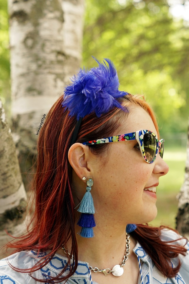 Winnipeg Style, Canadian Stylist fashion blog consultant, Anthropologie blue layered tassel earrings, Kate Spade New York retro printed sunglasses, Return to Tiffany tag silver necklace