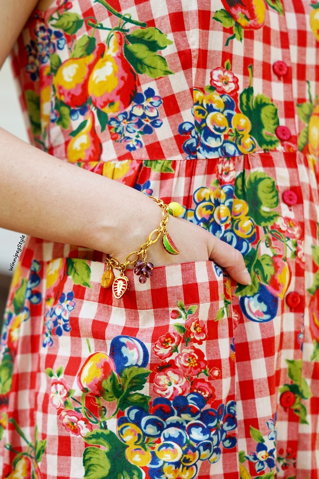 Winnipeg Style, Fashion Consultant, wardrobe stylist, Canadian fashion blog, April Cornell fruit basket porch dress, Midi length cotton dress, red gingham, Joan Rivers fruit charm bracelet, country chic