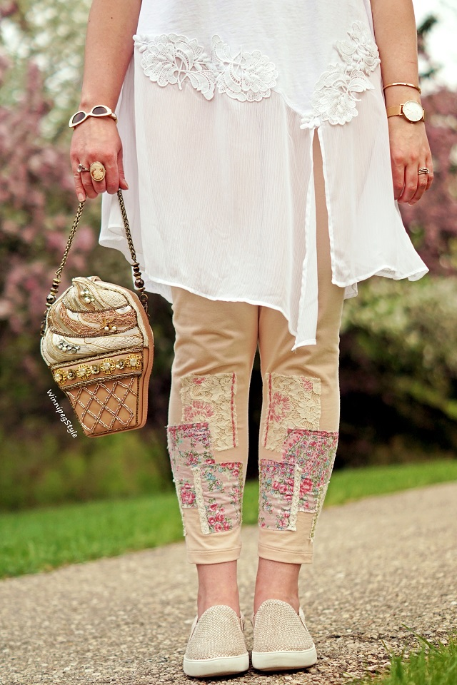 Winnipeg Style, Canadian Fashion consultant blog, stylist, April Cornell Hobo leggings patches patched pink peach, country chic, floral fabric, Anthropologie Akemi & Kin Kris white lace chiffon tunic top, Mary Frances Accessories Ice Cream beaded clutch purse bag, Naturalizer Marianne slip on sneakers pink cream metallic