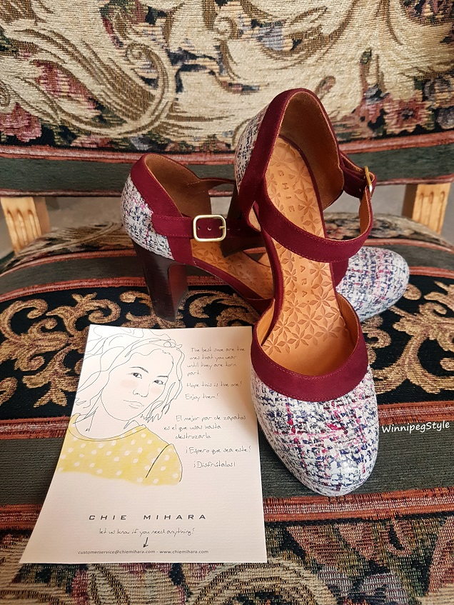 Winnipeg Style, Canadian fashion consultant, personal shopper, fashion stylist, Chie Mihara spring summer 2018 collection, Chie Mihara Tisa, tweed suede leather shoe heel, made in Spain, Fort Garry Hotel Winnipeg, Manitoba