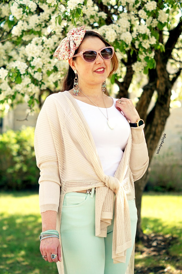 Winnipeg Style, Canadian Fashion blog, stylist, C'est Moi taupe nude slit side patterened mesh cardigan, wear different ways, perfect dressy casual look, pastels, women's fashion, Canadian Company fashion , Spring Summer 2018
