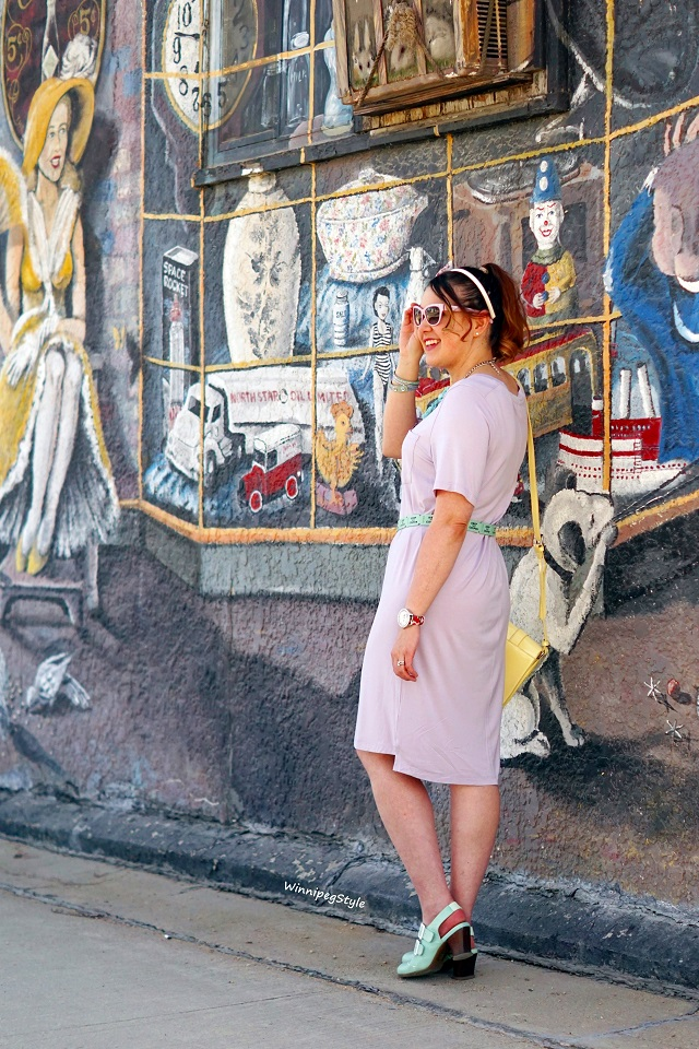 Winnipeg Style, Canadian Fashion blog, stylist, C'est Moi bamboo t shirt dress, lilac knit, pocket, perfect dressy casual look, pastels, women's fashion, Canadian Company fashion, Kate Spade leather ticket belt, Arzie bunny pocket pin