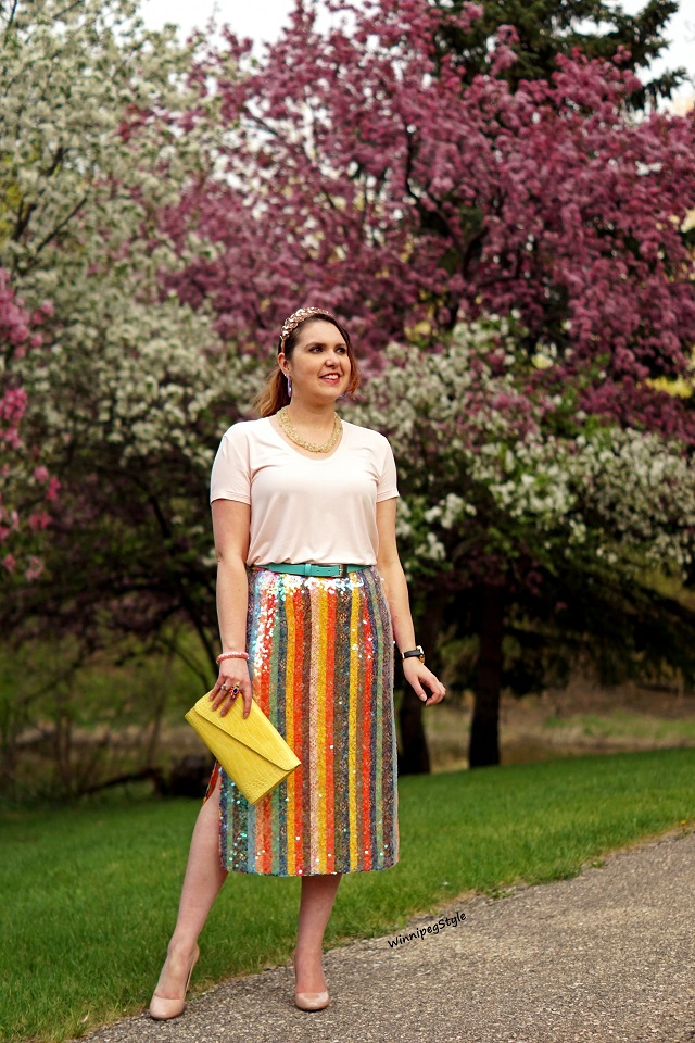 Winnipeg Style, Canadian Fashion blog, stylist, C'est Moi bamboo scoop neck t shirt, cool soft rose pink, perfect dressy casual look, pastels, women's fashion, Canadian Company fashion, Anthropologie Maeve rainbow striped sequin midi skirt, side slits, Danier leather yellow croc clutch