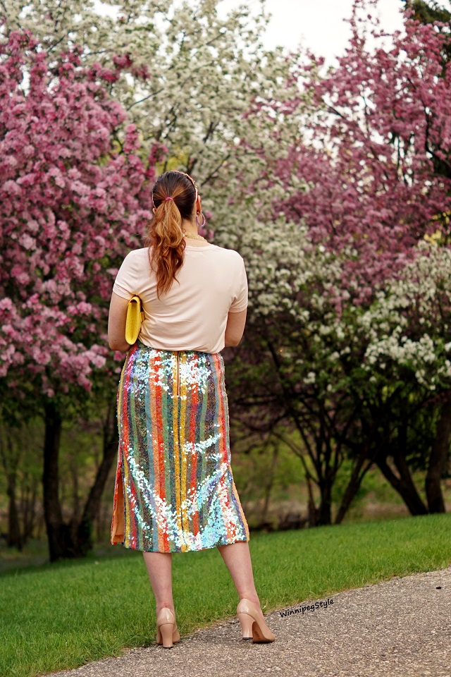 Winnipeg Style, Canadian Fashion blog, stylist, C'est Moi bamboo scoop neck t shirt, cool soft rose pink, perfect dressy casual look, pastels, women's fashion, Canadian Company fashion, Anthropologie Maeve rainbow striped sequin midi skirt, side slits